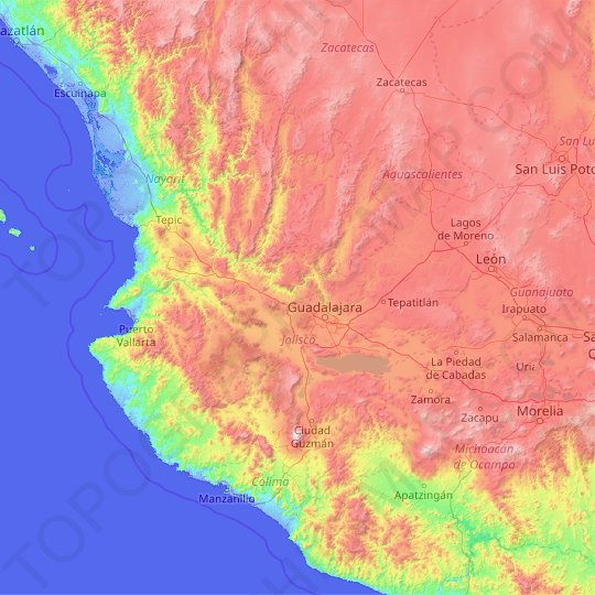 Jalisco topographic map, relief map, elevations map