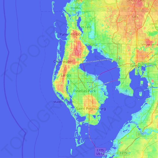 Pinellas County topographic map, relief map, elevations map