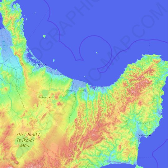 Bay of Plenty topographic map, relief map, elevations map