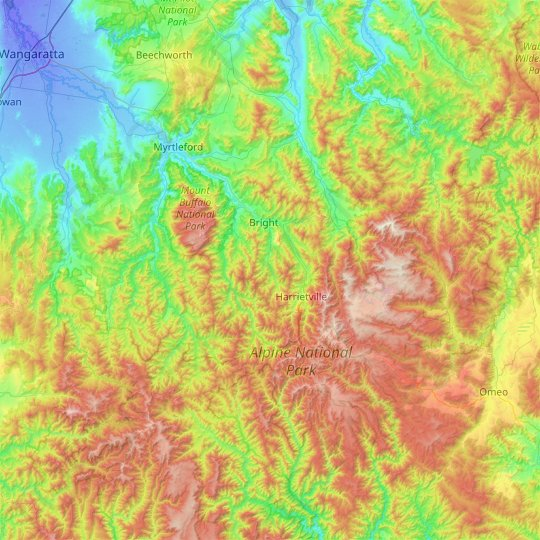 Alpine Shire topographic map, relief map, elevations map