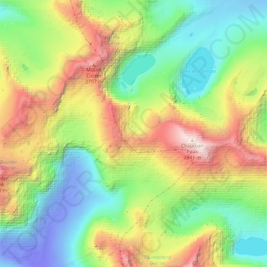 Hudson Glacier topographic map, relief map, elevations map