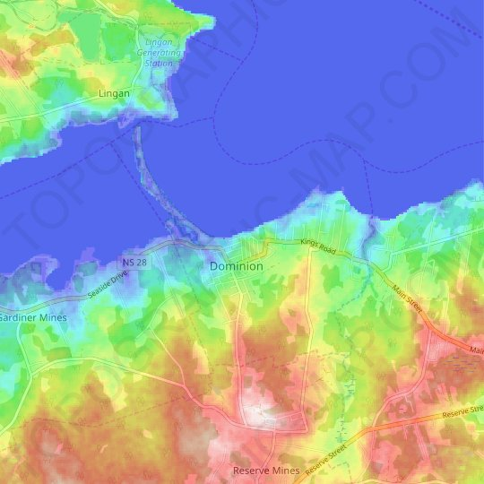 Dominion topographic map, relief map, elevations map