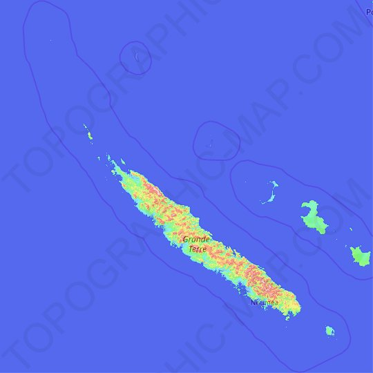 New Caledonia topographic map, relief map, elevations map