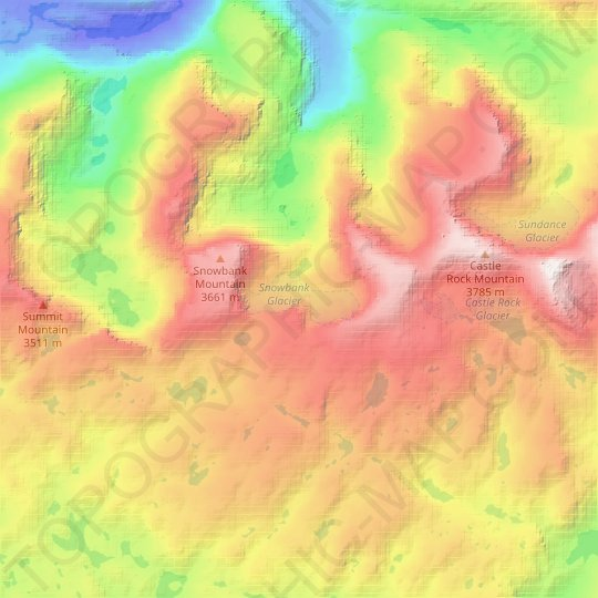 Snowbank Glacier topographic map, relief map, elevations map