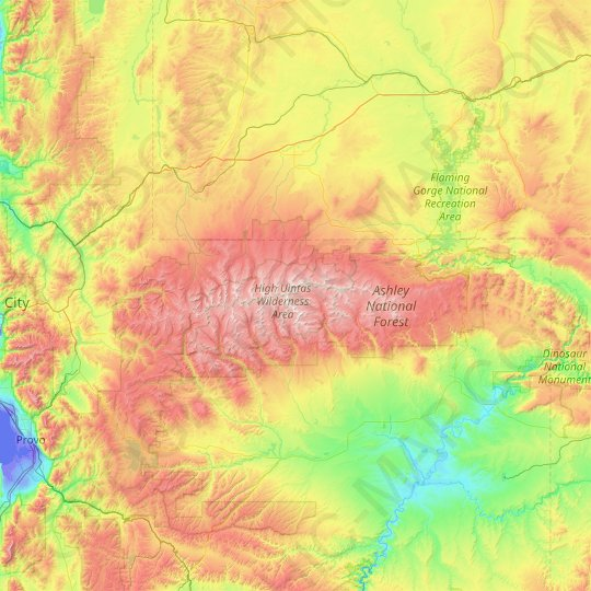 Uinta Mountains topographic map, relief map, elevations map
