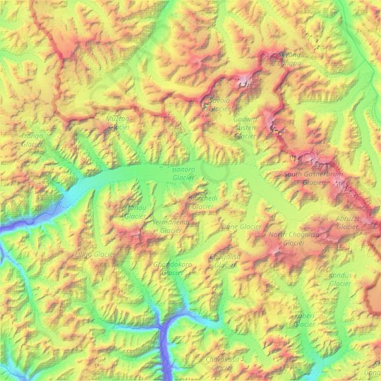 Baltoro Glacier topographic map, relief map, elevations map