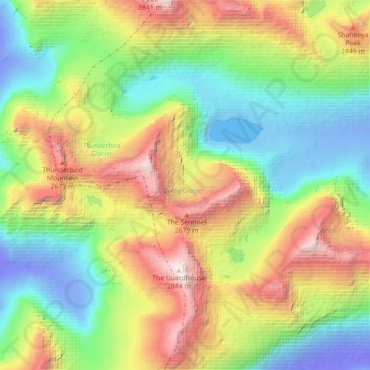 Dixon Glacier topographic map, relief map, elevations map